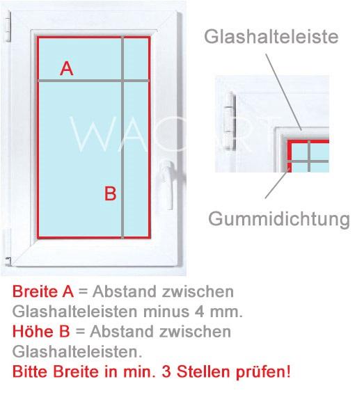 Messanleitung für Plissees - Montage vor dem Glas